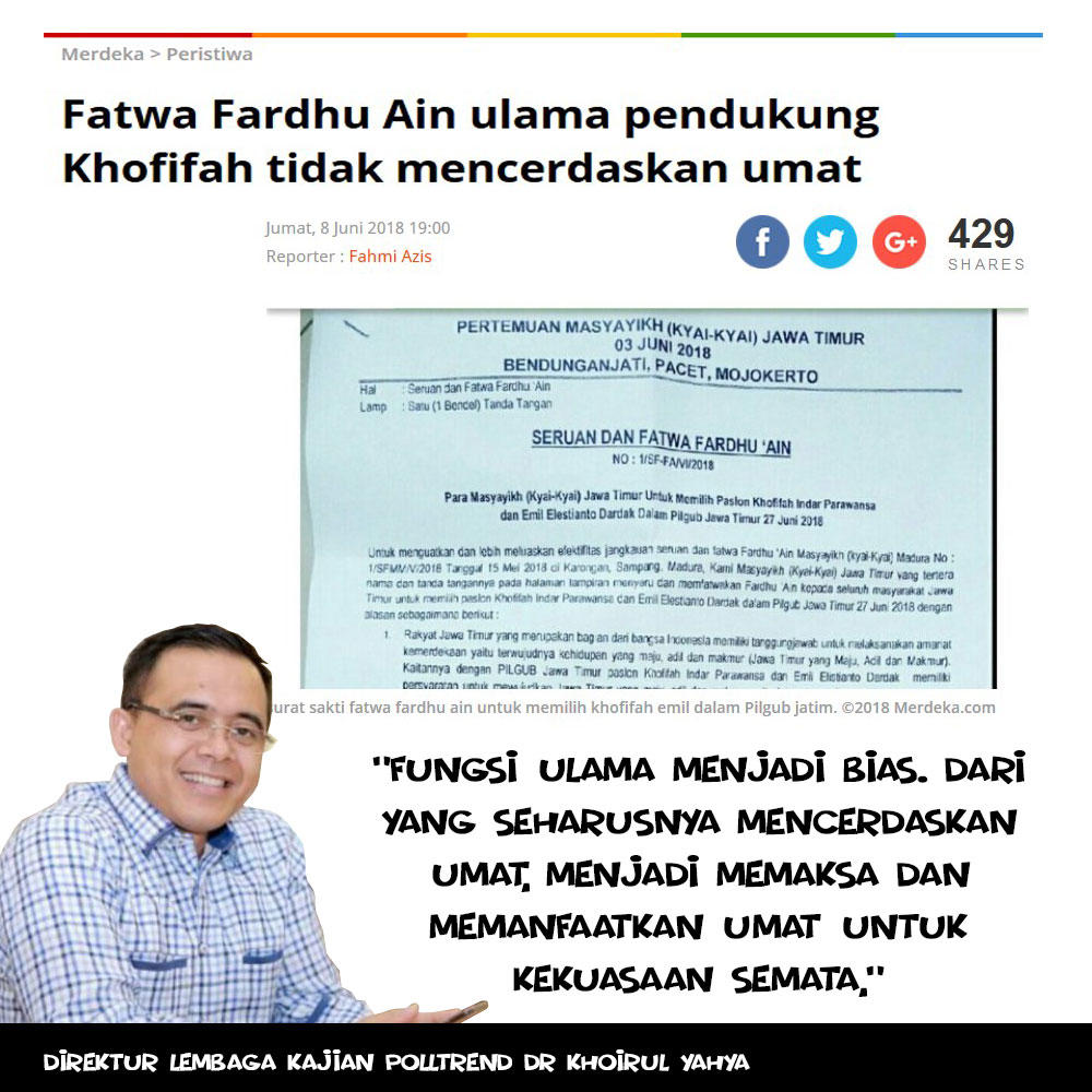Fatwa Fardhu Ain ulama pendukung Khofifah tidak mencerdaskan umat
