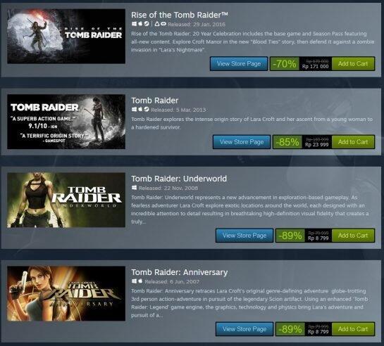 Franchise Tomb Raider Diskon 89% di Steam Hanya Untuk Dua Hari, Buruan Dibeli Gan!!