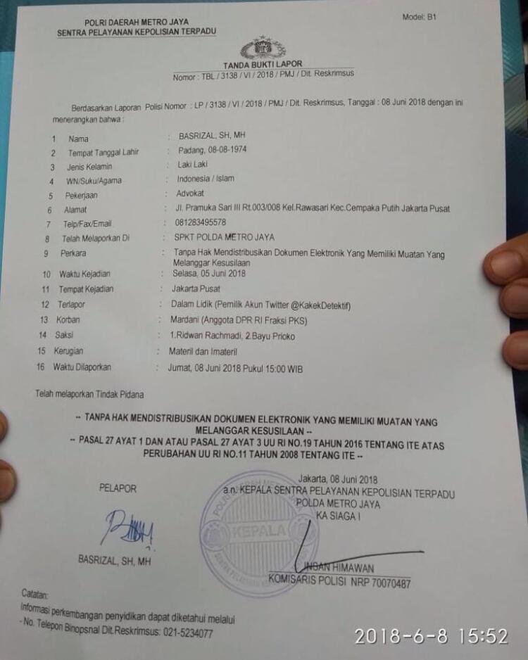 Politikus PKS Mardani Laporkan Akun Penyebar Isu Perselingkuhannya