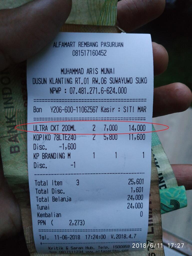 Lebih kecil ternyata belum tentu lebih murah di Alfamart