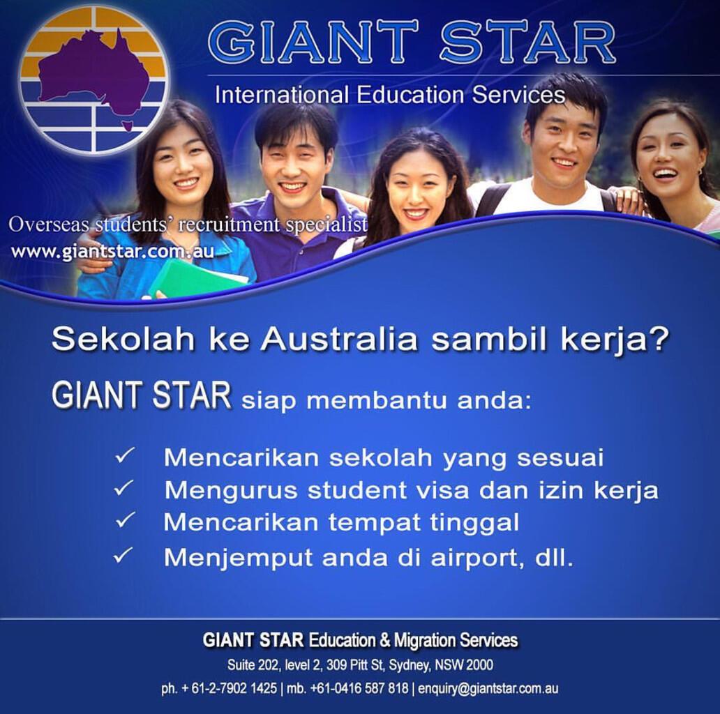 sekolah ke Australia sambil kerja? Giant Star siap membantu anda