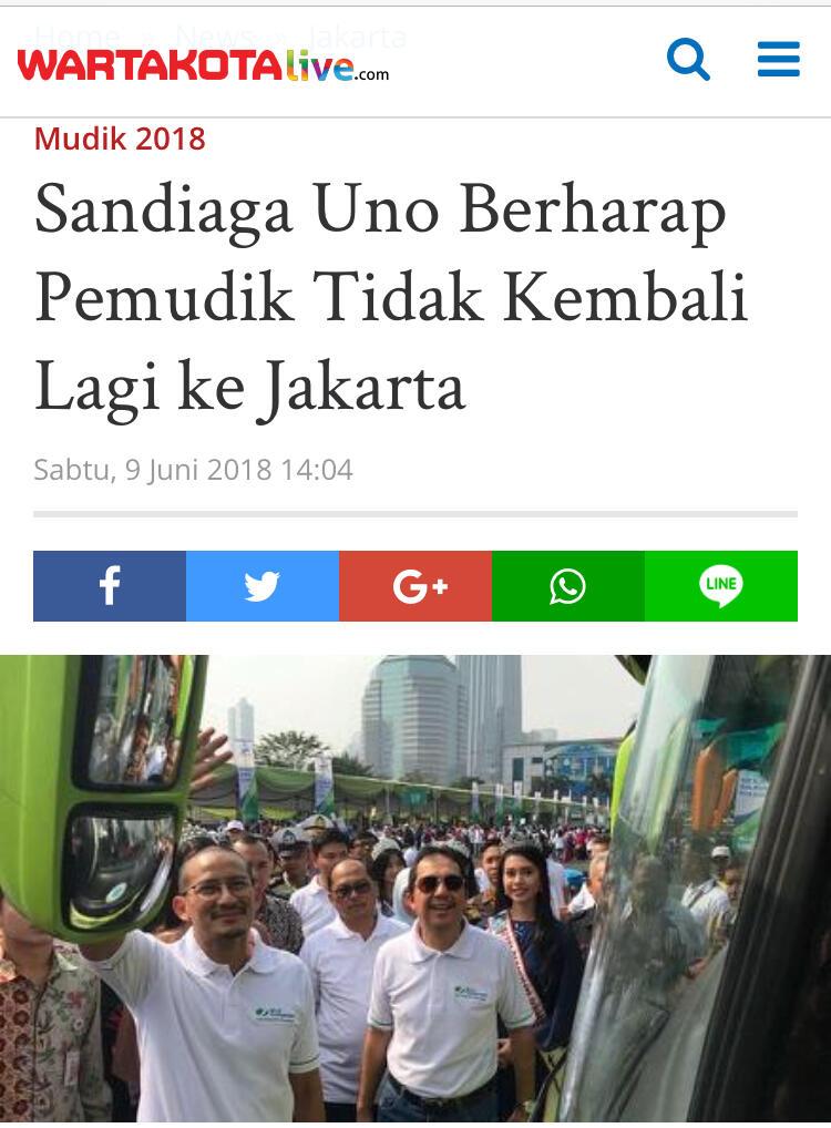 Sandiaga: Temannya Jangan Dibawa ke Jakarta