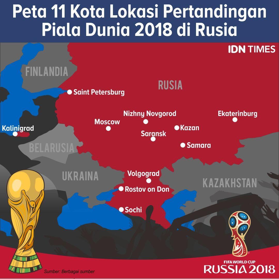 Seberapa Jauh Jarak yang Ditempuh Tim Favoritmu di Piala Dunia 2018?