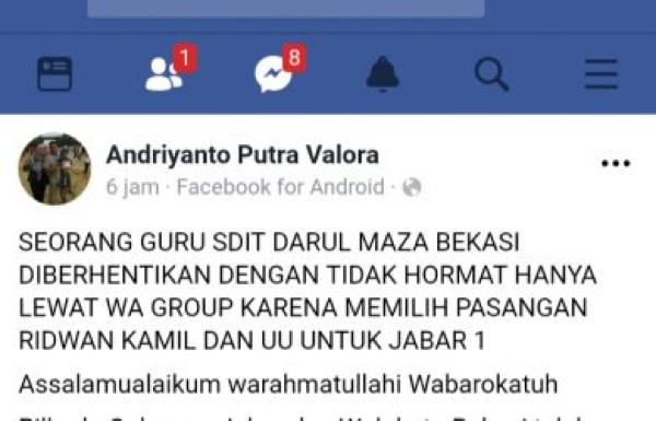 Guru SD di Bekasi Dipecat Lewat WhatsAap Gara-Gara Beda Pilihan di Pilkada 2018