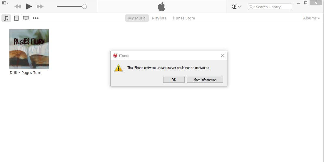 """the iphone software update server could not be contacted"" di mode DFU"