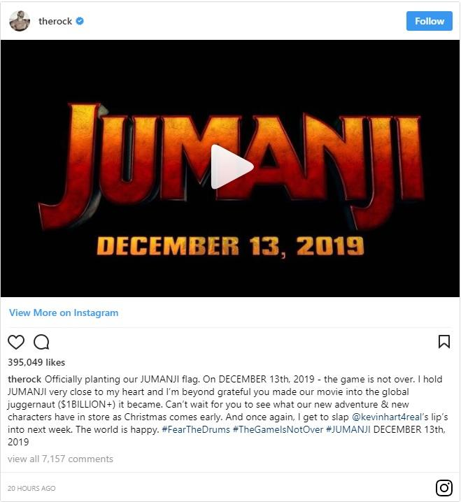 Dwayne Johnson Bocorkan Jadwal rilis Sekuel Jumanji