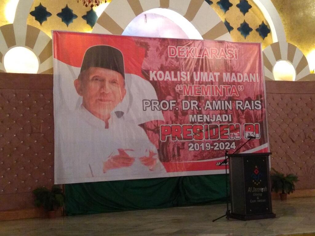 Koalisi Umat Madani Deklarasikan Amien Rais Capres 2019