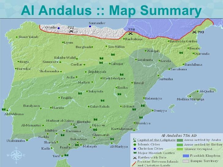 Daftar nama kota/wilayah di Spanyol dan Portugal pada masa Kekhalifahan Al-Andalus