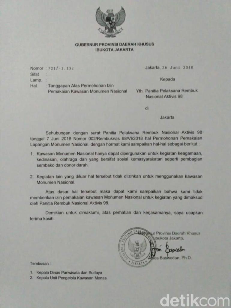 Anies Bantah Teken Surat Tolak Acara Aktivis '98 di Monas