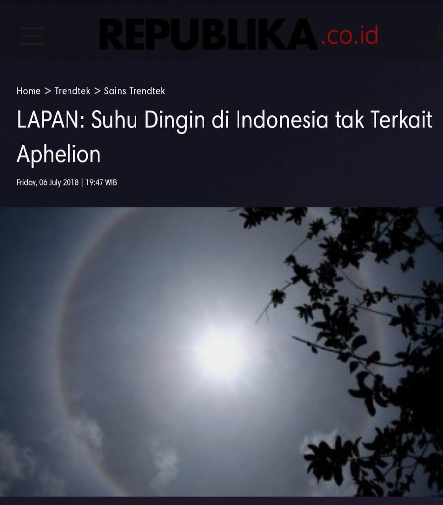 LAPAN: Suhu Dingin di Indonesia tak Terkait Aphelion