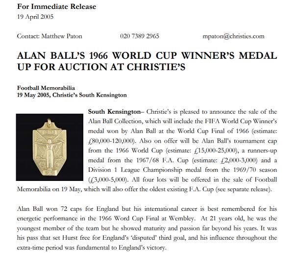 Medali Piala Dunia Ini Dilelang Seharga 3 Miliar Gan!