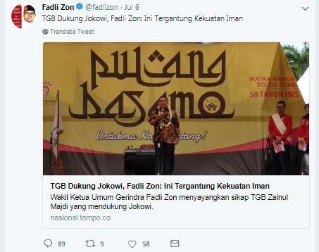 Hanura Dukung Jokowi, Fadli Zon: Kadar Keimanan TGB Bisa Ditakar