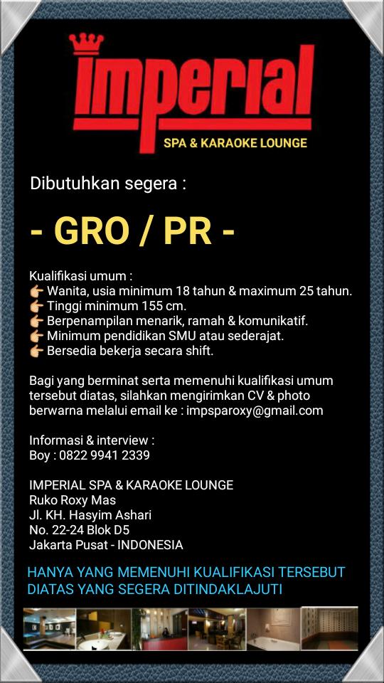 Lowongan GRO / PR