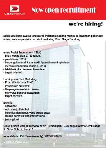 Lowongan Marketing cc Cimb Niaga areal Bandung