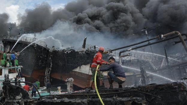 Kebakaran di Pelabuhan Benoa, Bali, 40 Kapal Habis Terbakar