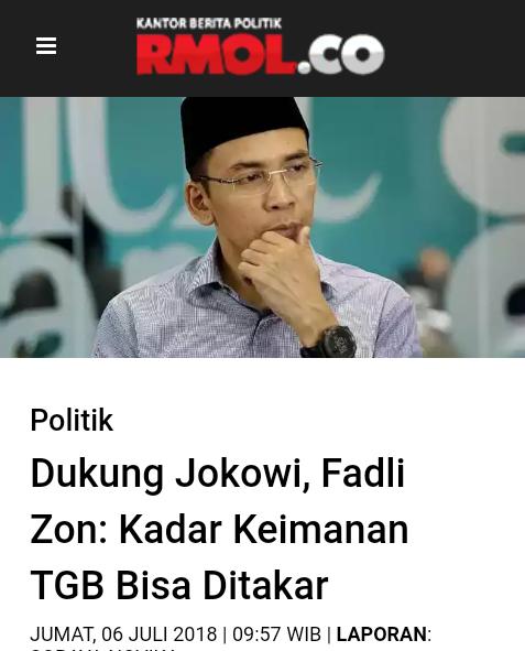 TGB Dukung Jokowi dan Bingungnya Pada Tokoh Pindah Posisi