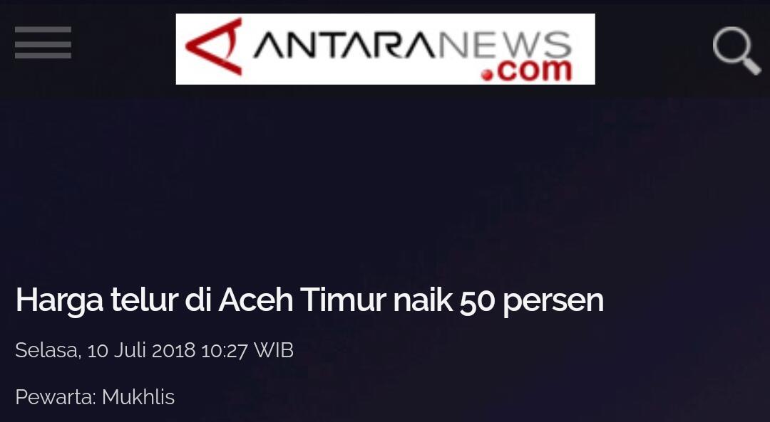 Harga telur di Aceh Timur naik 50 persen.(jadi 45rebong perkilo bre)