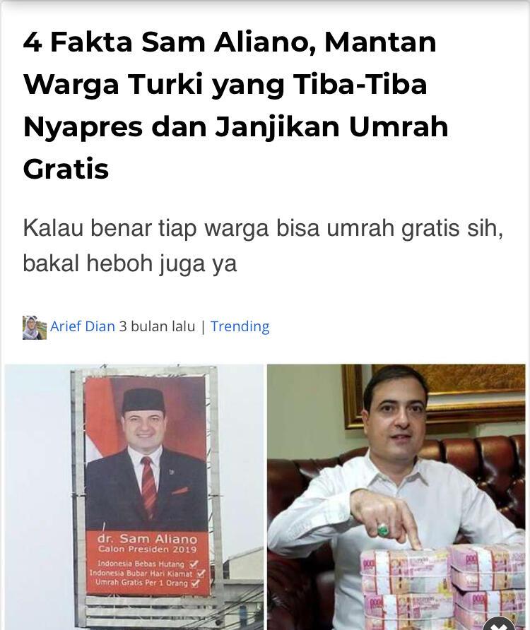 Sam Aliano Merasa Rakyat Indonesia Mendorongnya Jadi Presiden