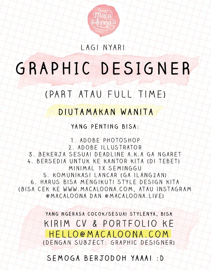 Graphic Designer (diutamakan wanita) Part atau Full Time di Tebet