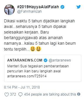 Fahri Hamzah Disemprot Menteri Susi Gara-gara Sindir Soal Ilegal Fishing