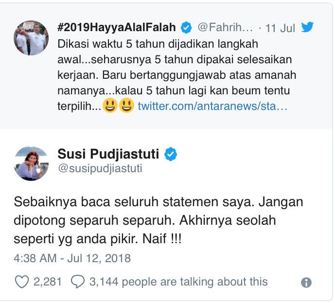 Menteri Susi Semprot Fahri Hamzah dengan Sebutan Naif