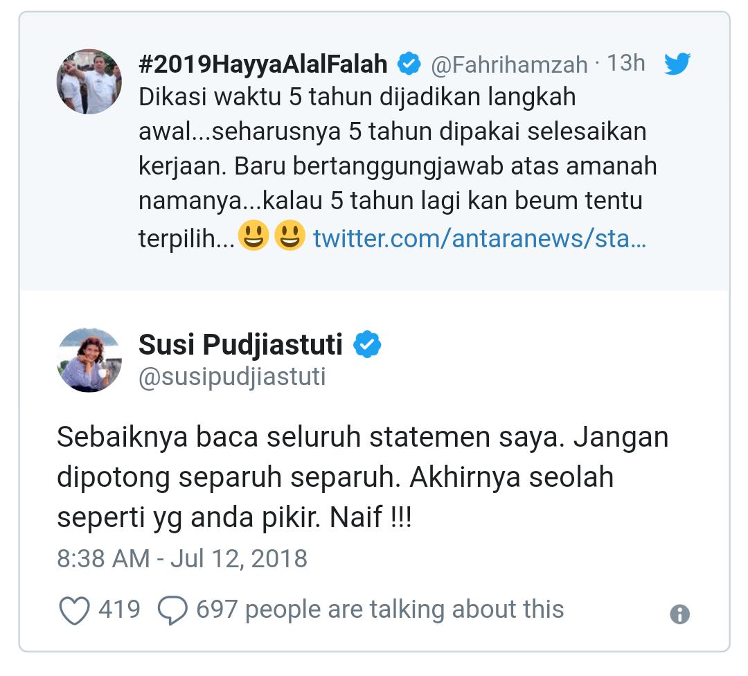 Disindir Soal Illegal Fishing, Menteri Susi 'Semprot' Fahri Hamzah