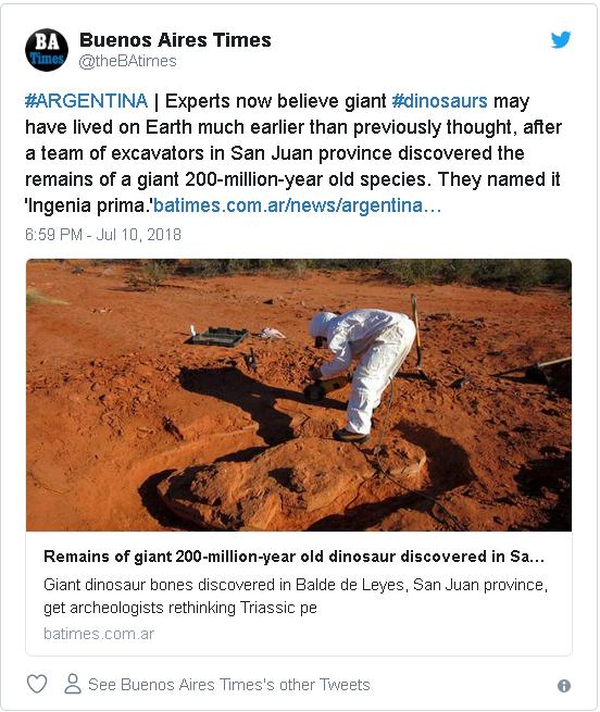 Penemuan fosil dinosarus raksasa pertama di muka Bumi