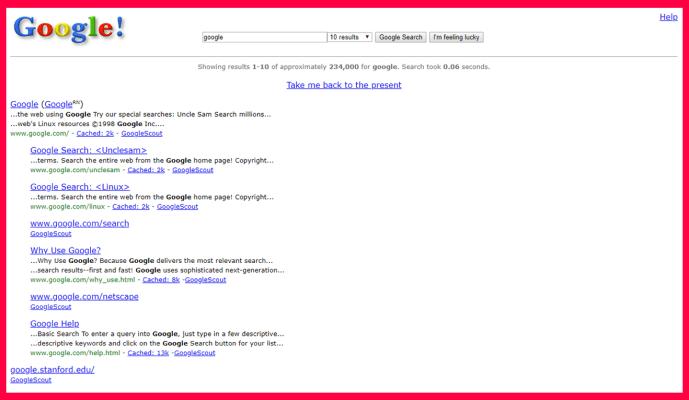 Melihat Tampilan Google Saat Pertama Rilis