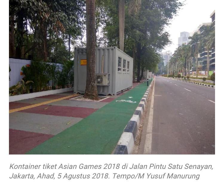 Jalur Sepeda Aman, Kontainer Tiket Halangi Garis Disabilitas