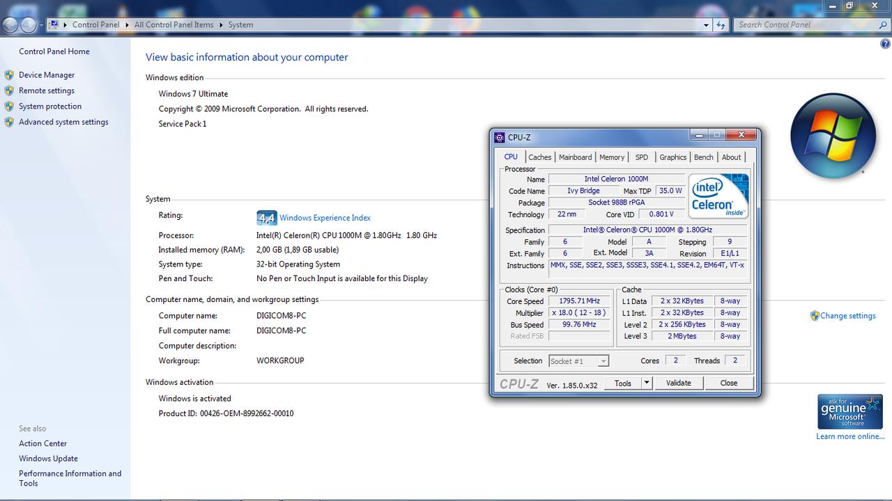 upgrade Intel Celeron 1000M