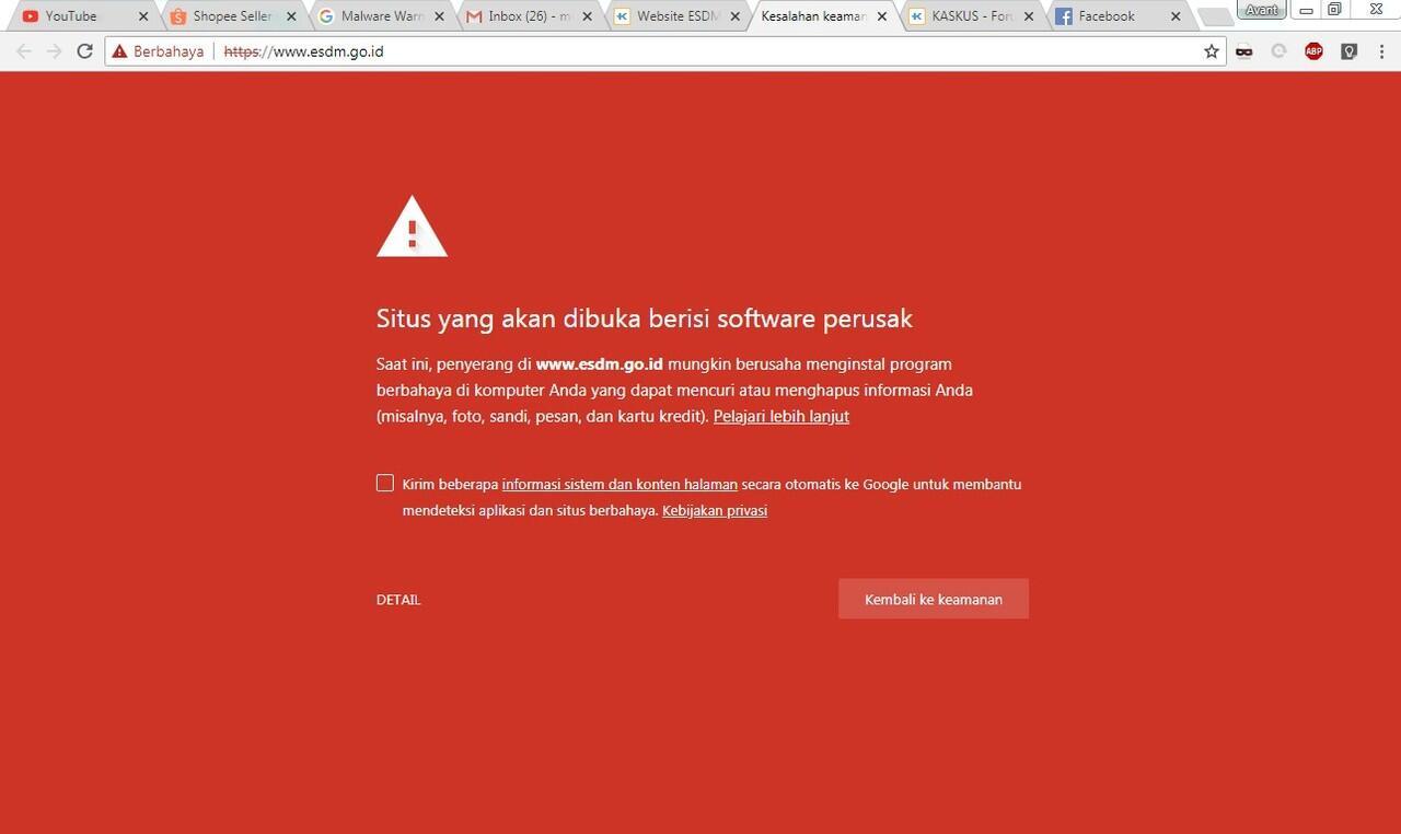 Website ESDM kenapa ga bisa di akses ?