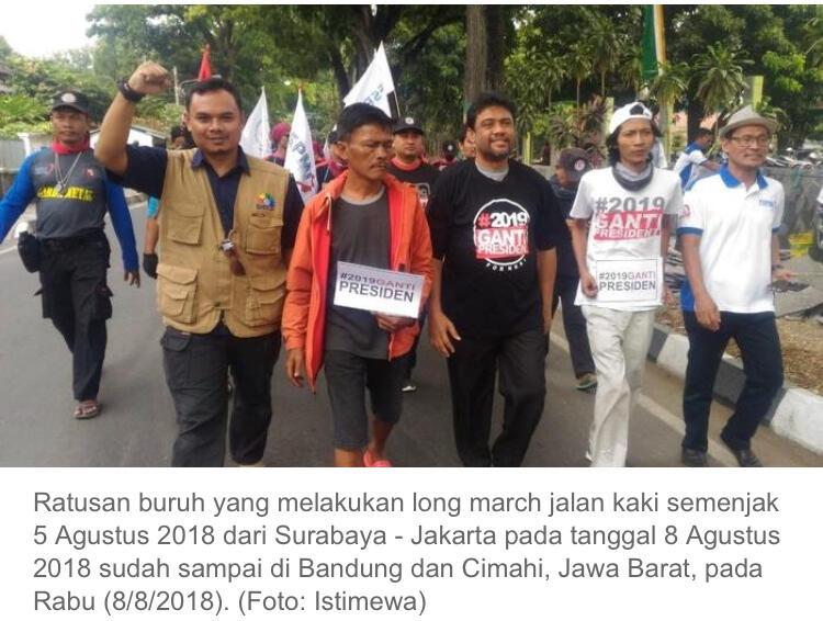 Ratusan Buruh Long March Serbu Jakarta dari Penjuru Barat dan Timur Pulau Jawa
