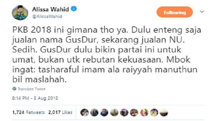 Sindir PKB, Alissa Wahid: Sedih, Dulu Jualan Nama Gusdur, Sekarang Jualan NU