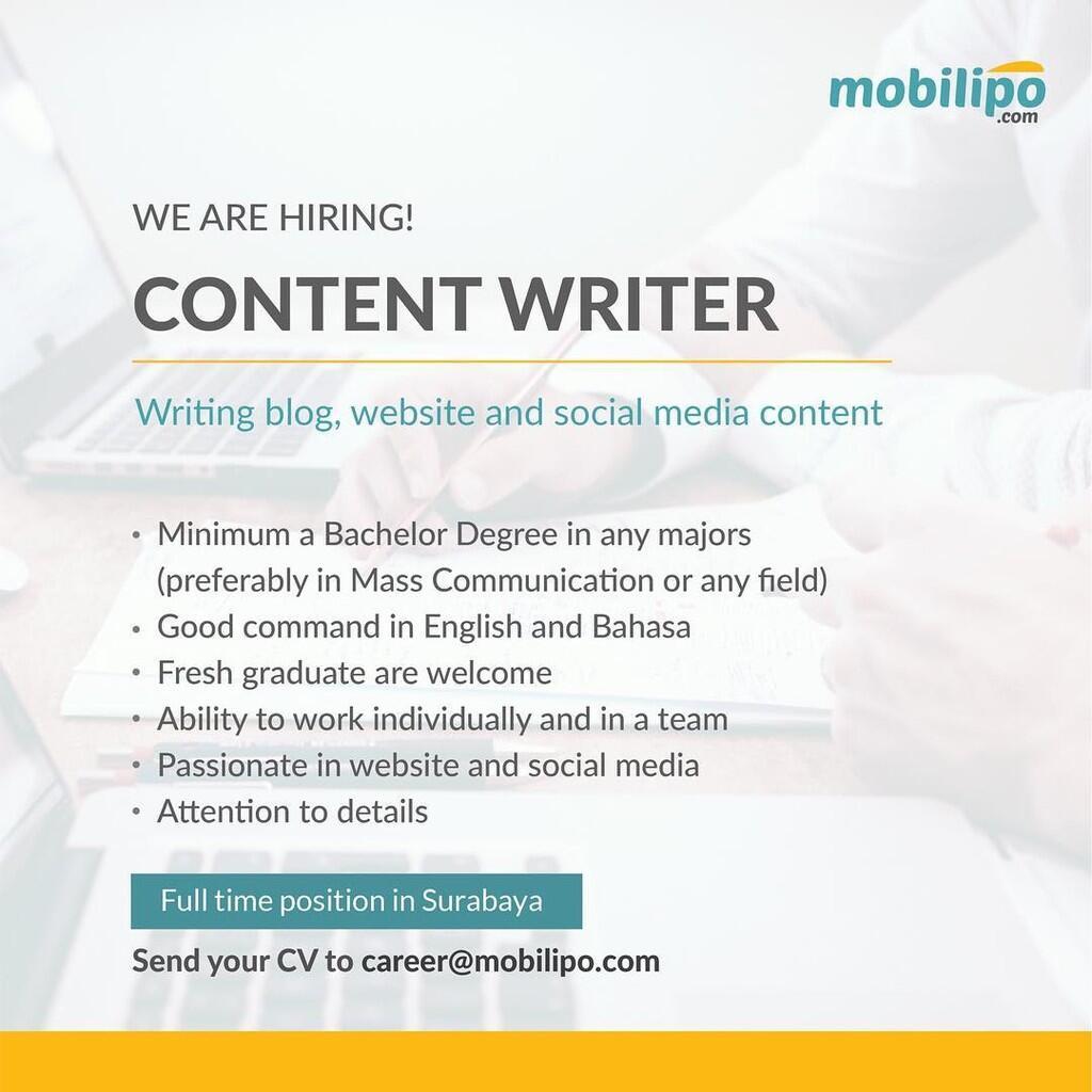 [SURABAYA] Content Writer - Mobilipo