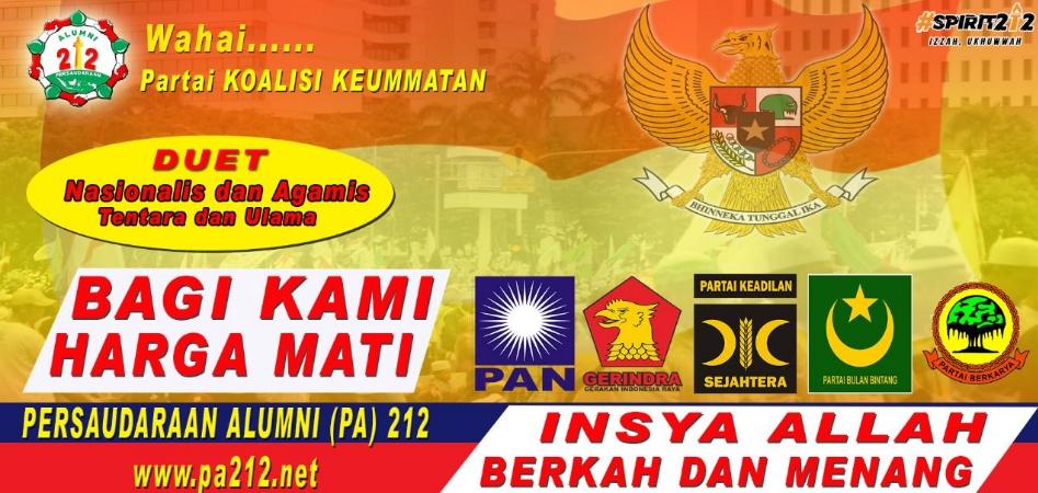 Soal Duet Prabowo-Sandiaga, PA 212 Tentara-Ulama Harga Mati (Loyo Sm Uang)