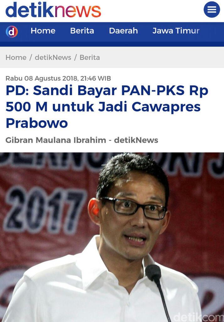 Prabowo-SBY akan Bahas Nama AHY atau Sandiaga Jadi Cawapres