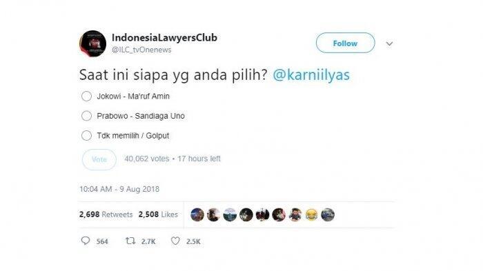 Polling Capres - Cawapres Twitter ILC, Prabowo-Sandiaga Unggul Jauh Atas Jkw-Ma'ruf