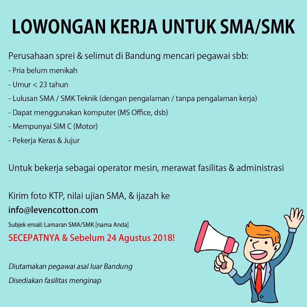 Lowongan Kerja Untuk SMA/SMK di Bandung | KASKUS