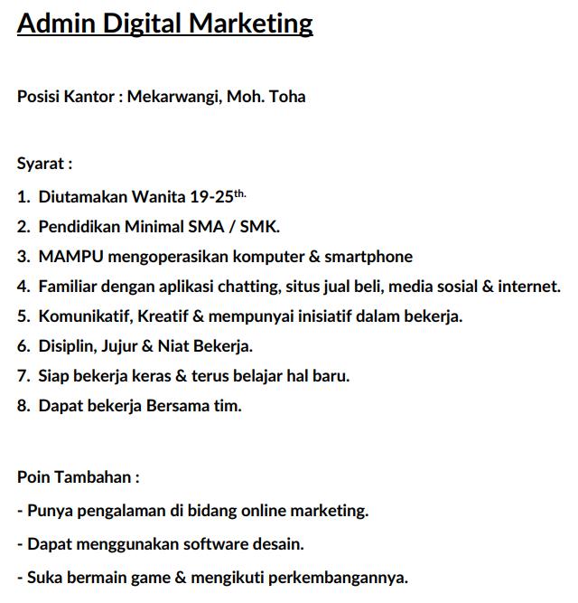 [ BANDUNG ] Gaming Store - Admin Online, Desainer Digital Marketing & Frontliner