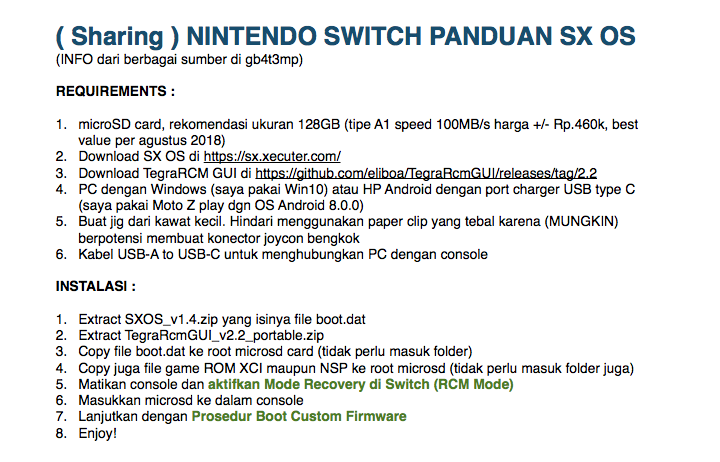 (SHARING) Nintendo Switch - Panduan Instalasi CFW to play XCI & NSP - SX OS & Hekate
