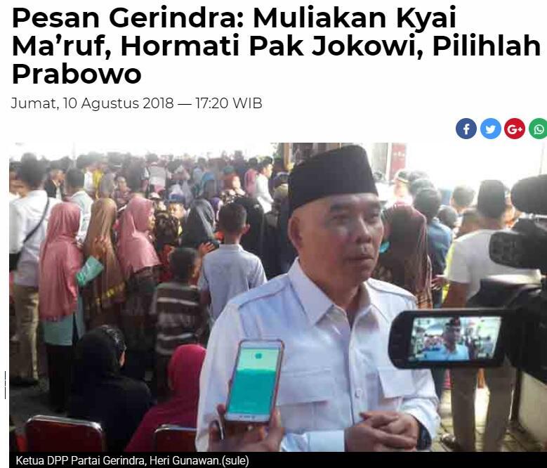 Muliakan Kyai Ma'ruf, Hormati Pak Jokowi, Pilihlah Prabowo