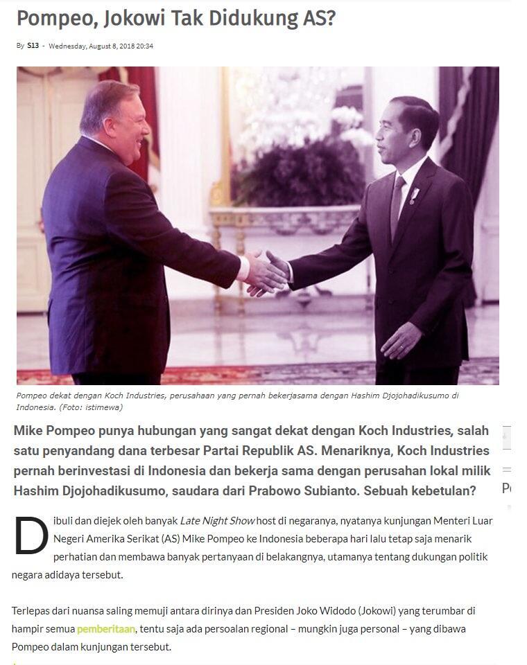 (Menlu AS) Pompeo, Jokowi Tak Disukung AS?