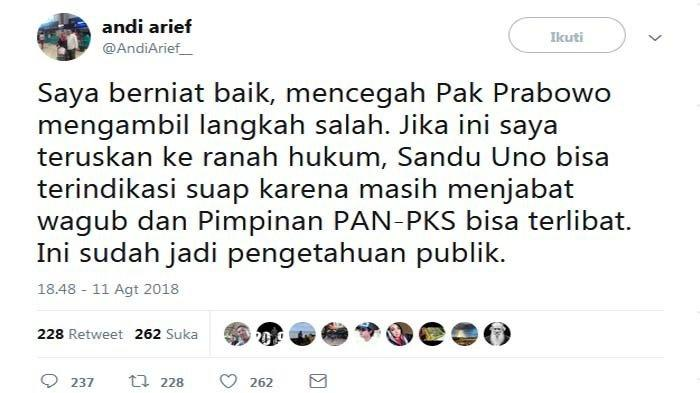 Sandiaga Uno Akui Adanya Pemberian Mahar Rp 1 Triliun Pada PAN dan PKS