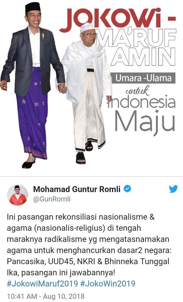 Dukung Jokowi-Ma'ruf Amin, Guntur: Politik identitas dan Politisasi SARA Masuk ke Dal