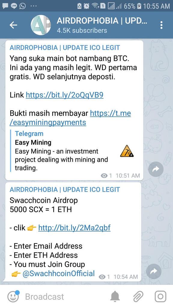 [AIRDROPHOBIA] Join Telegram Dapatkan Airdrop Baru dan New ICO Untung Berkali Lipat!
