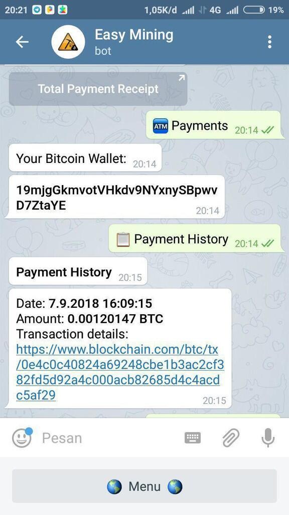 [Easy Mining] Bot Mining Terbaru Via Telegram Masih Legit Pembayaran Langsung