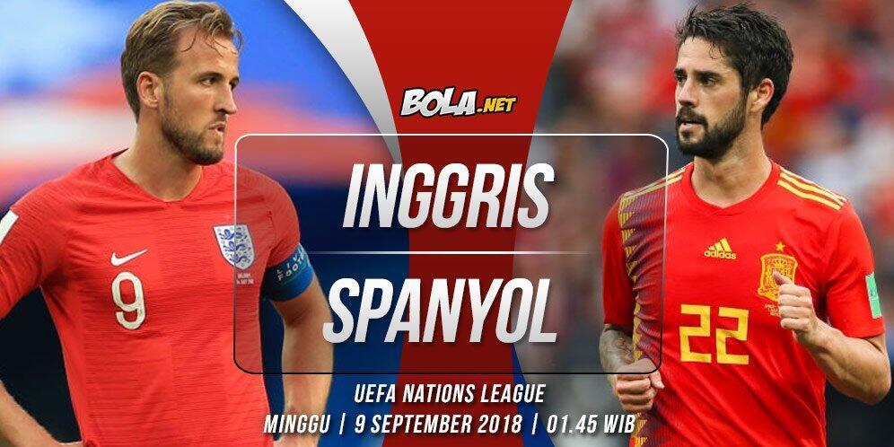 Prediksi Inggris vs Spanyol 9 September 2018
