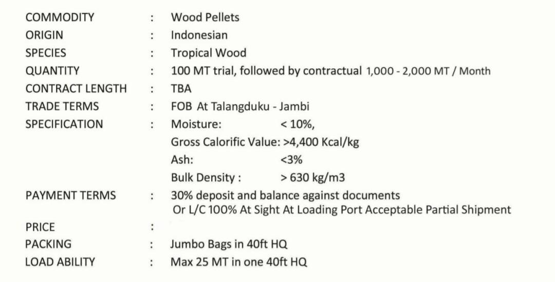 Dicari wood pellet 2000-5000 ton/bulan