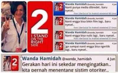 Wanda Hamidah menganggap gerakan #2019GantiPresiden bisa dikategorikan sebagai makar
