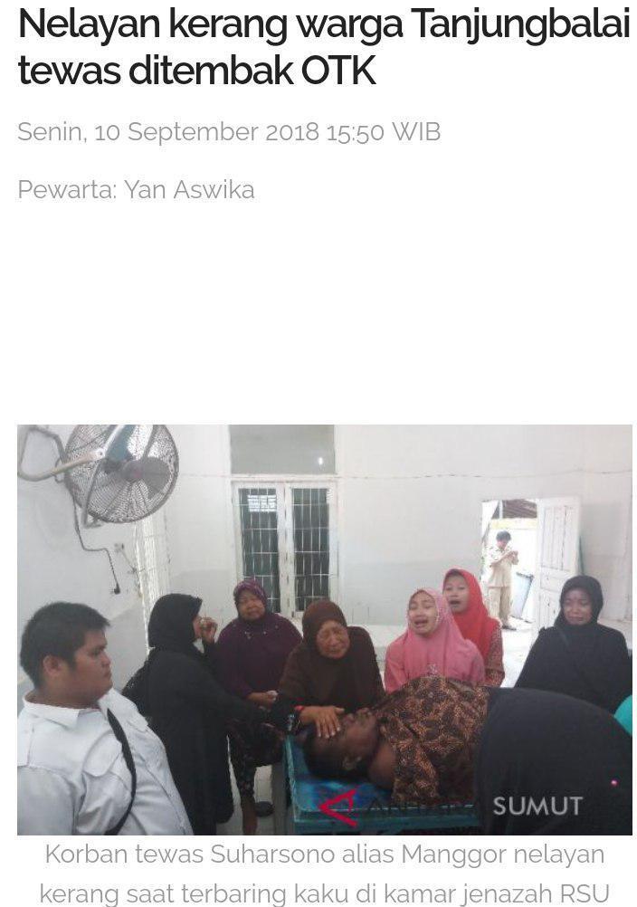 Seorang Tewas Curi Kerang Nelayan Tanjung Balai Ditembak